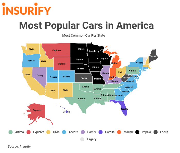 The most popular and common cars on the road by state