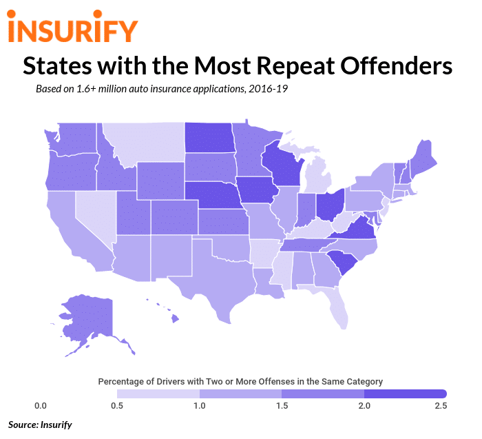 Top driving offenses by state statistics on dui repeat offenders