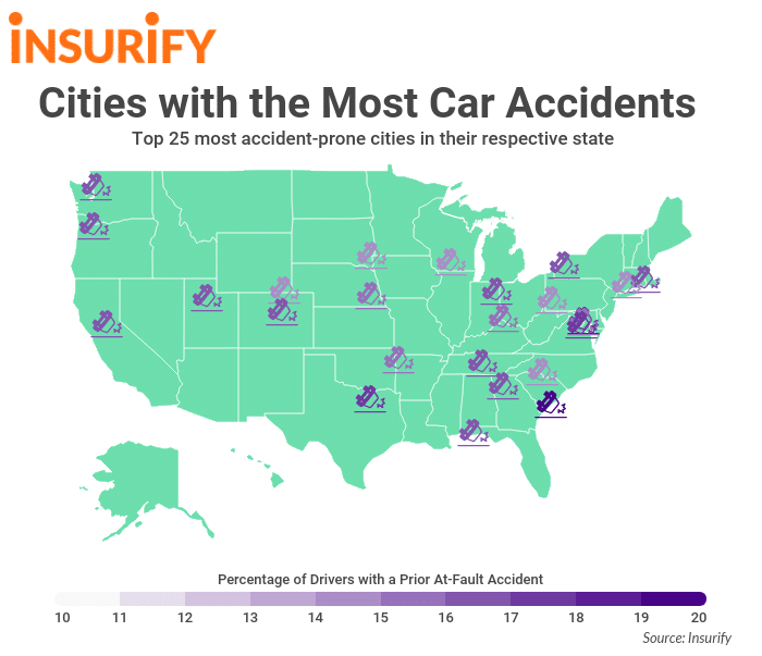 Cities with the most car accidents per capita