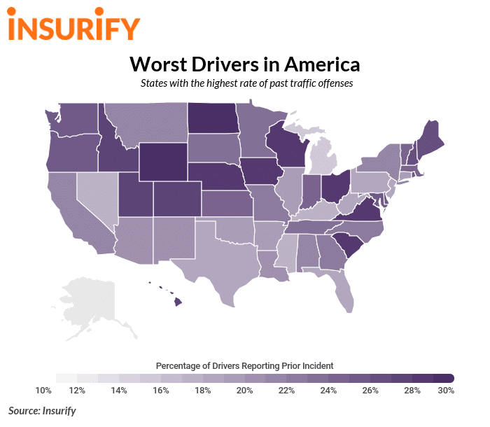 Worst Drivers In America: States with the highest rate of traffic offenses