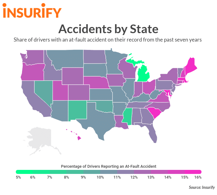 us states with most car accidents
