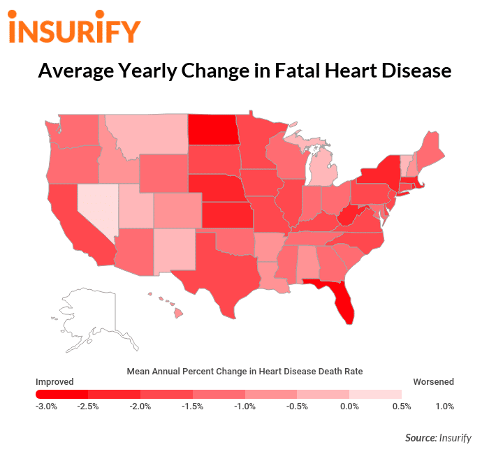 Fatal heart disease rates by state