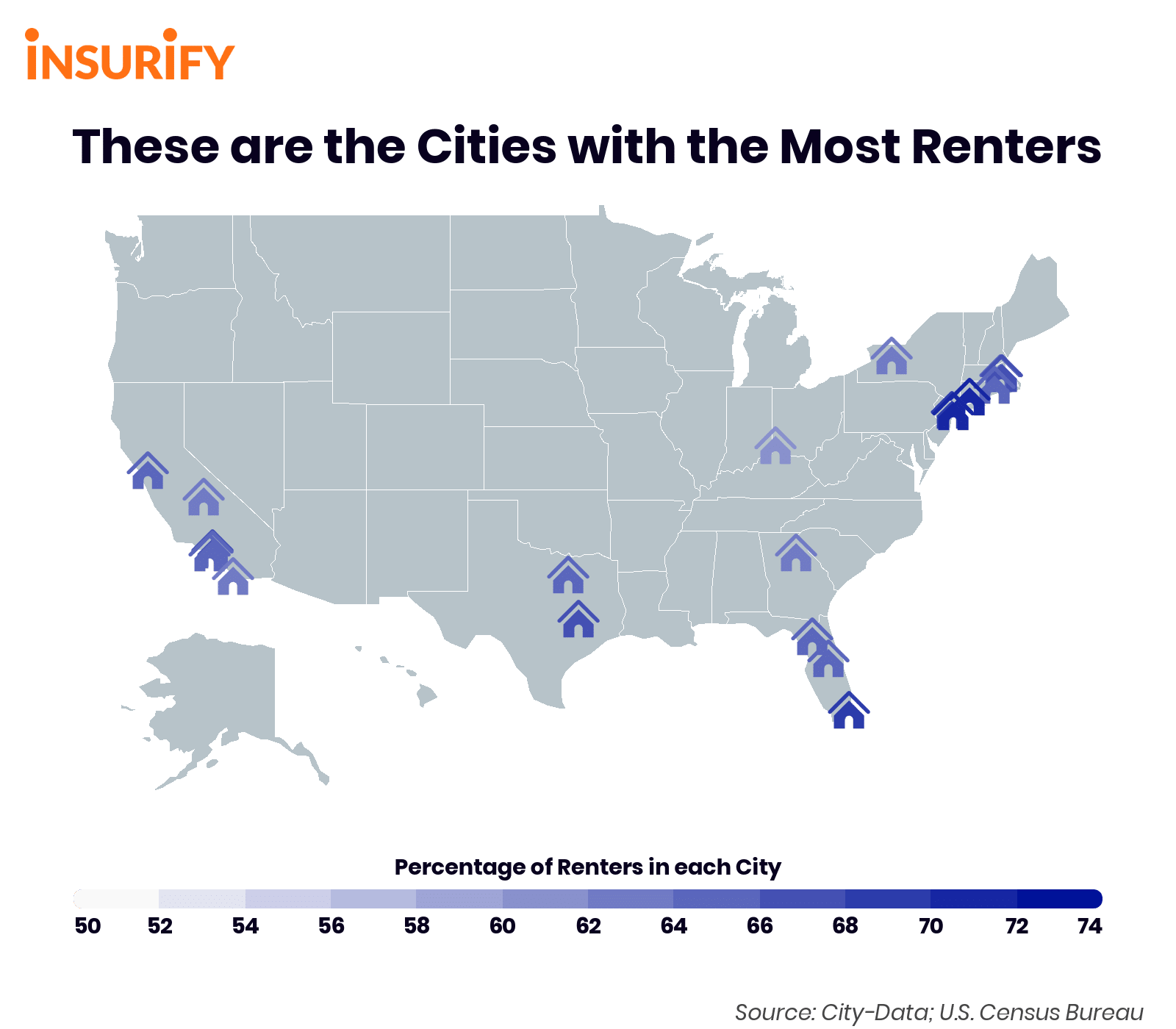 US Cities With the Most Renters