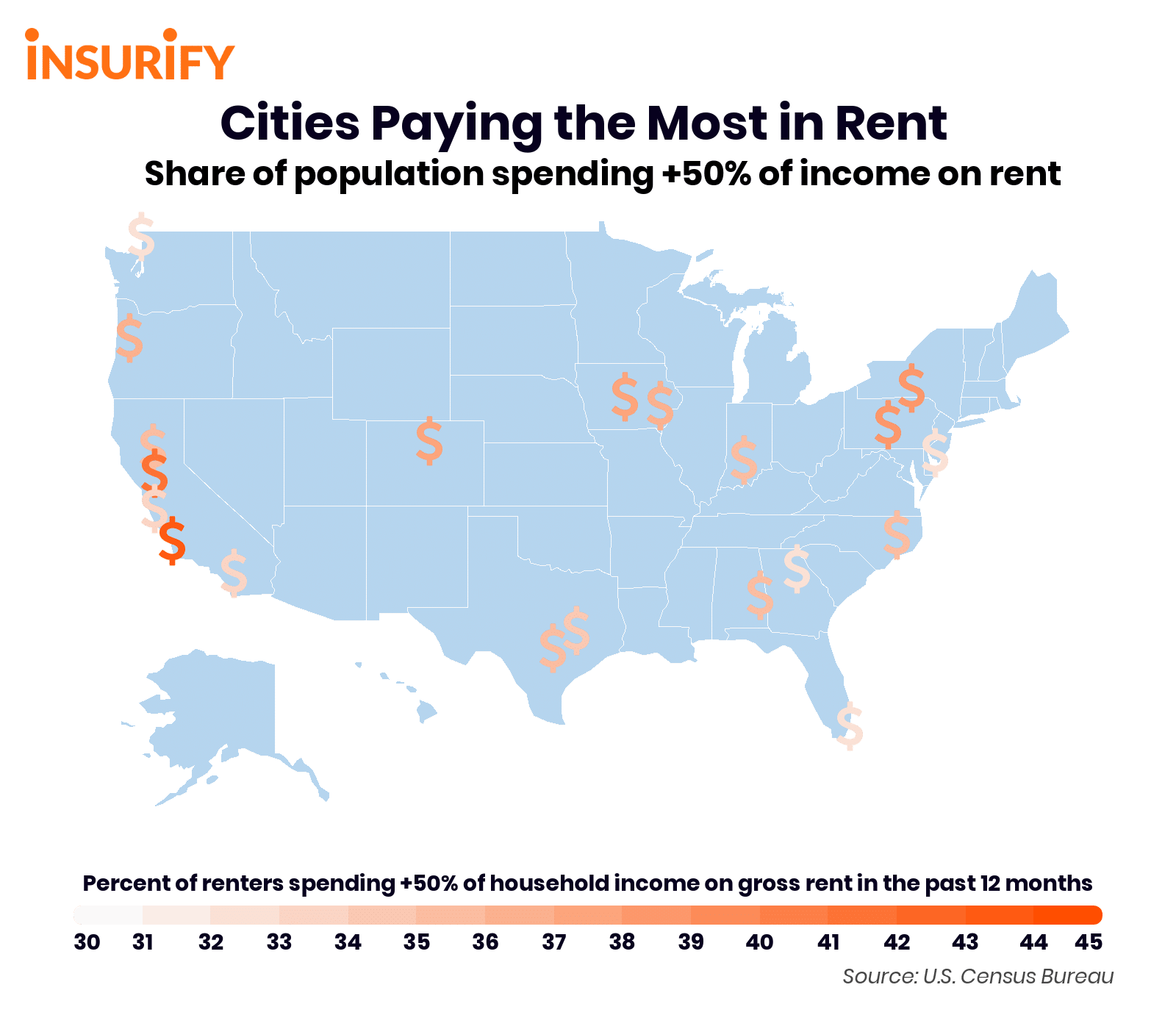 Map of cities with the highest shares of residents spending 50% or more of income on rent.