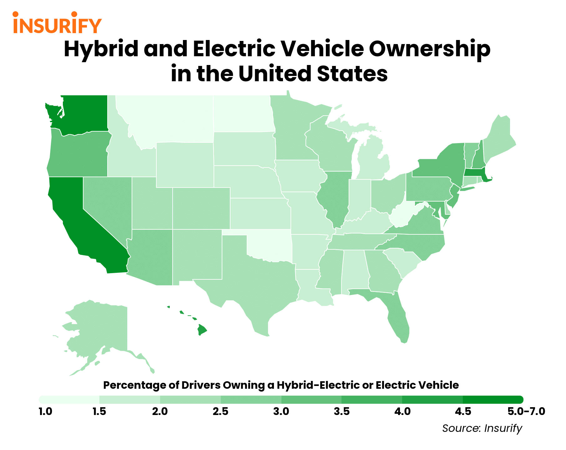 States with the Most Hybrid and Electric Vehicles