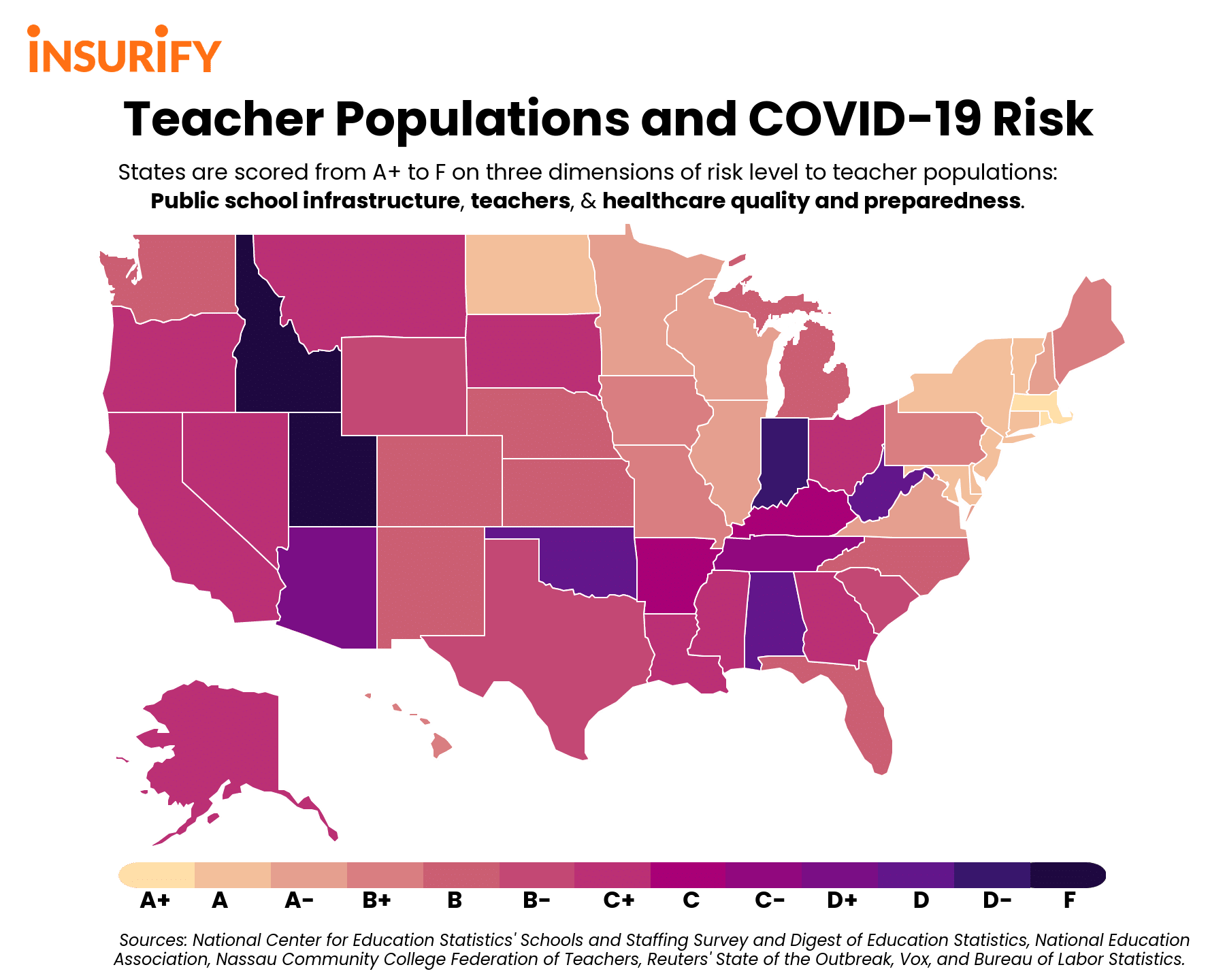 heat map of states with the most at-risk teachers to COVID-19, or novel coronavirus.
