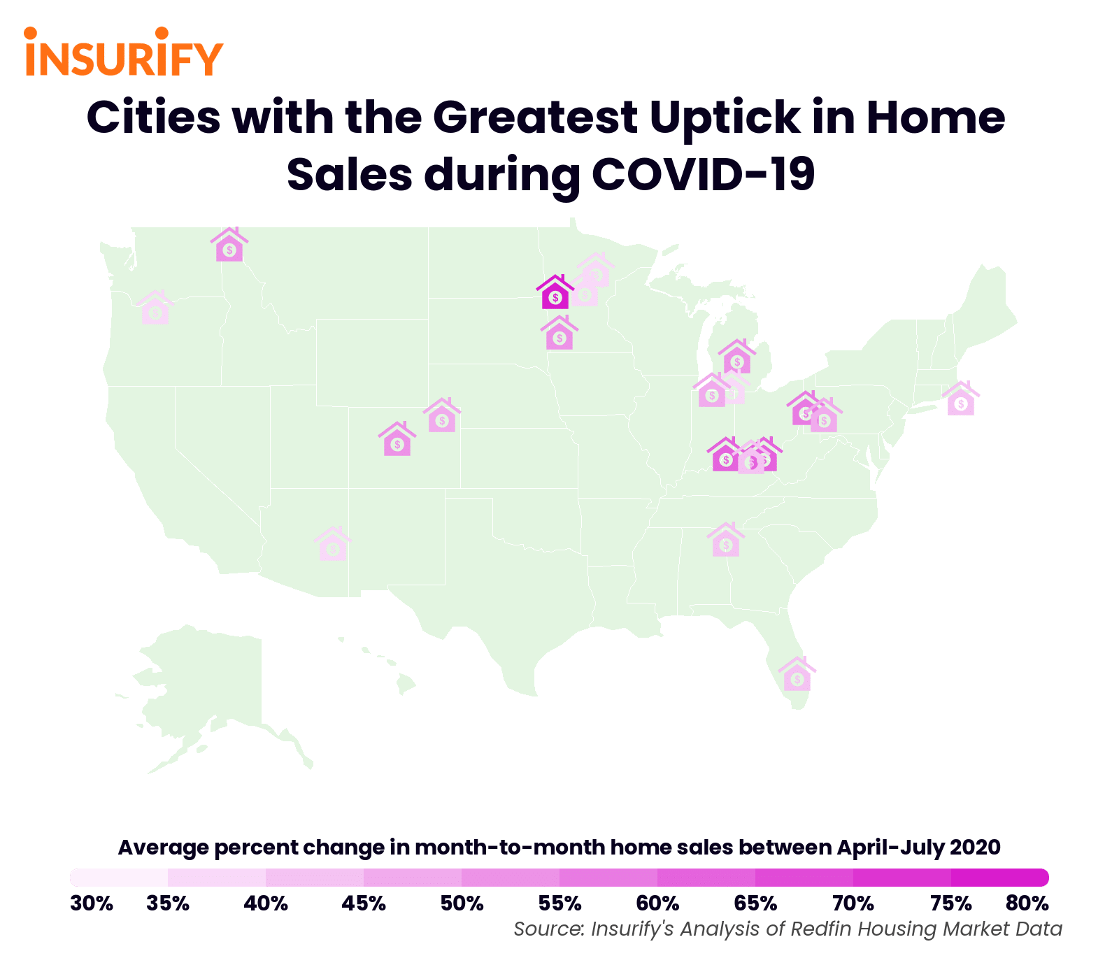 An icon map showing the twenty cities with the greatest surge in home sales during the COVID-19 pandemic.
