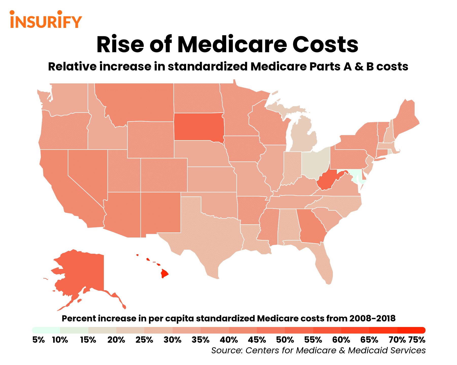 Heat map showing which states have experienced the greatest increases in Medicare spending over the past decade.