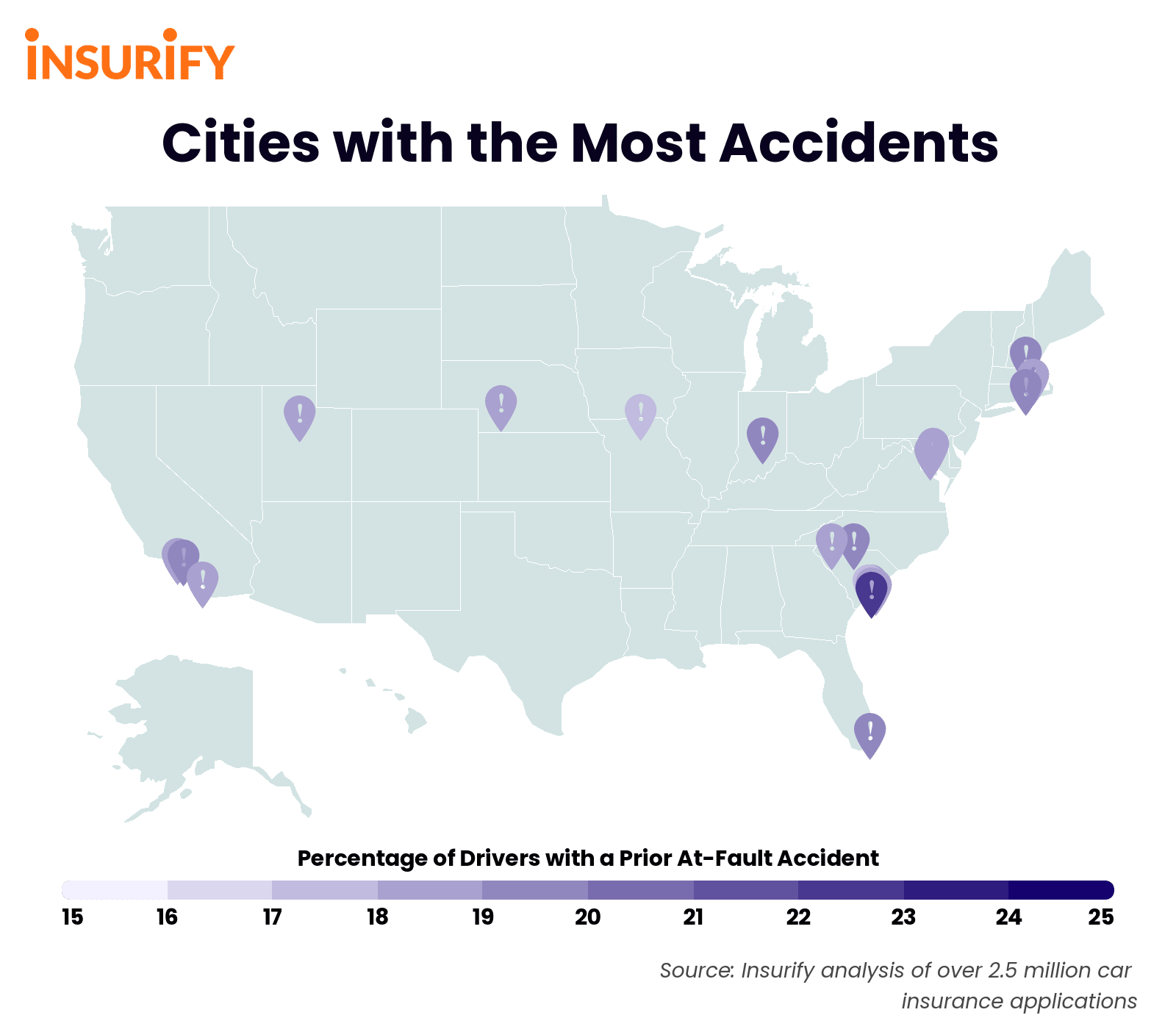 heat map of the United States showing Cities with the Most Accidents