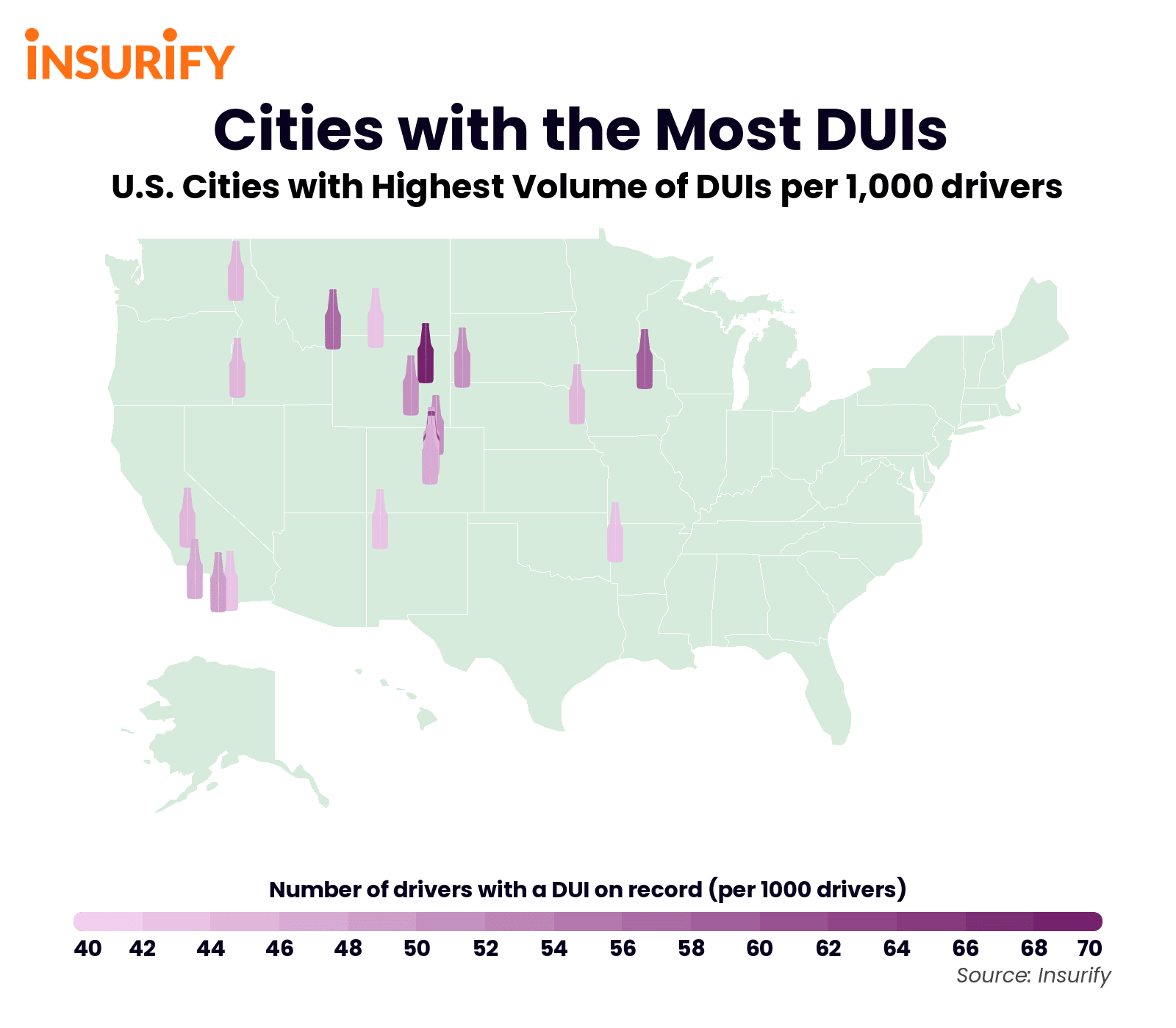 An icon map indicating which U.S. cities have the highest DUI rates.