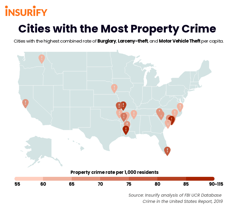 cities with the highest rates of property crime (burglary, larceny-theft, and motor vehicle theft).