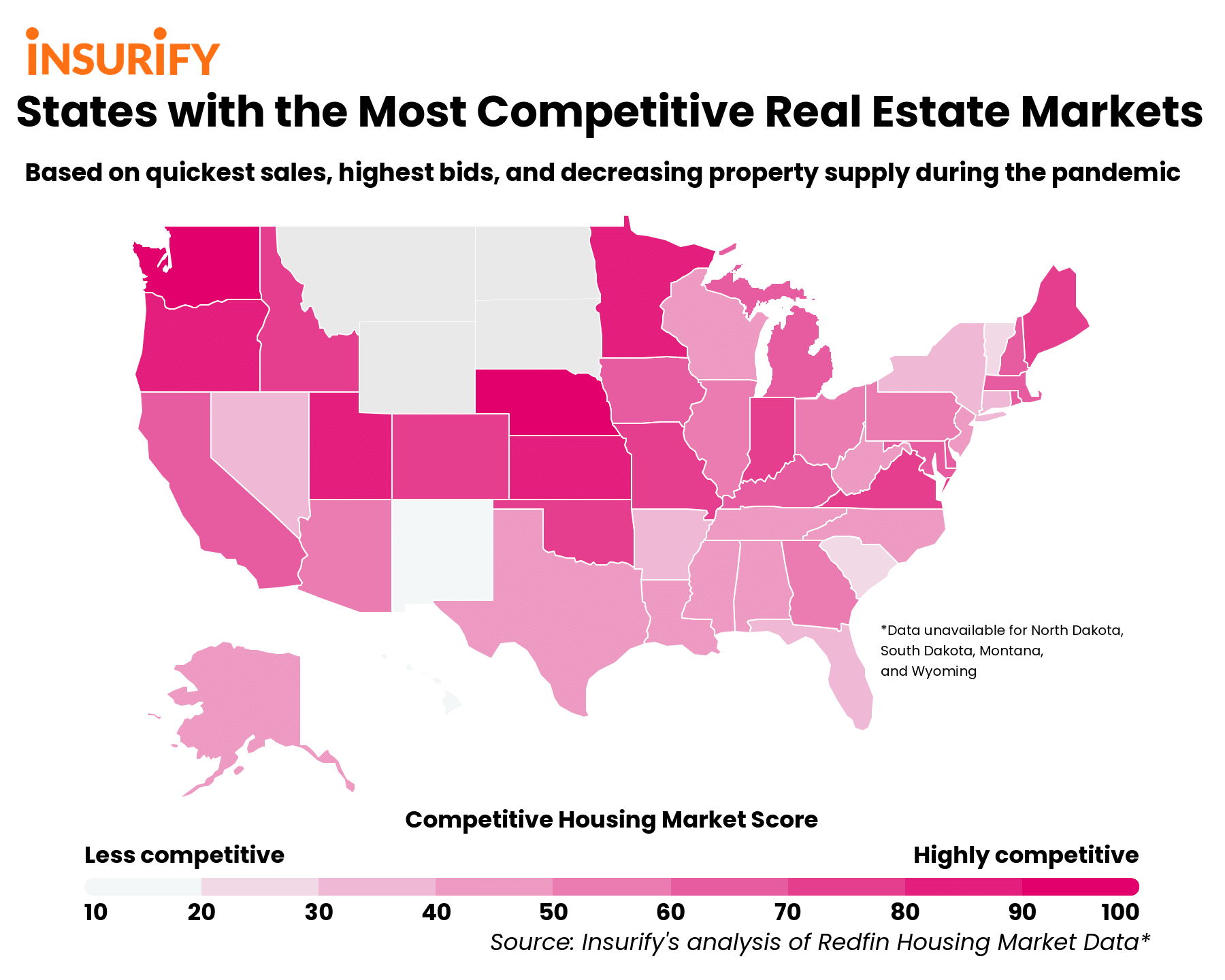 A heat map showing how competitive the housing market in each state has been during the pandemic in 2020.