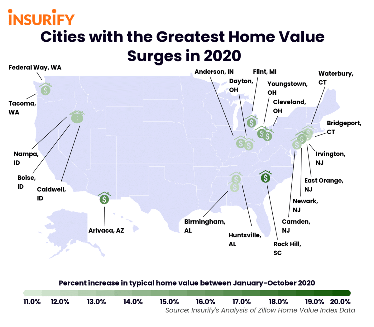 Icon map showing the cities whose home values have increased the most in 2020.