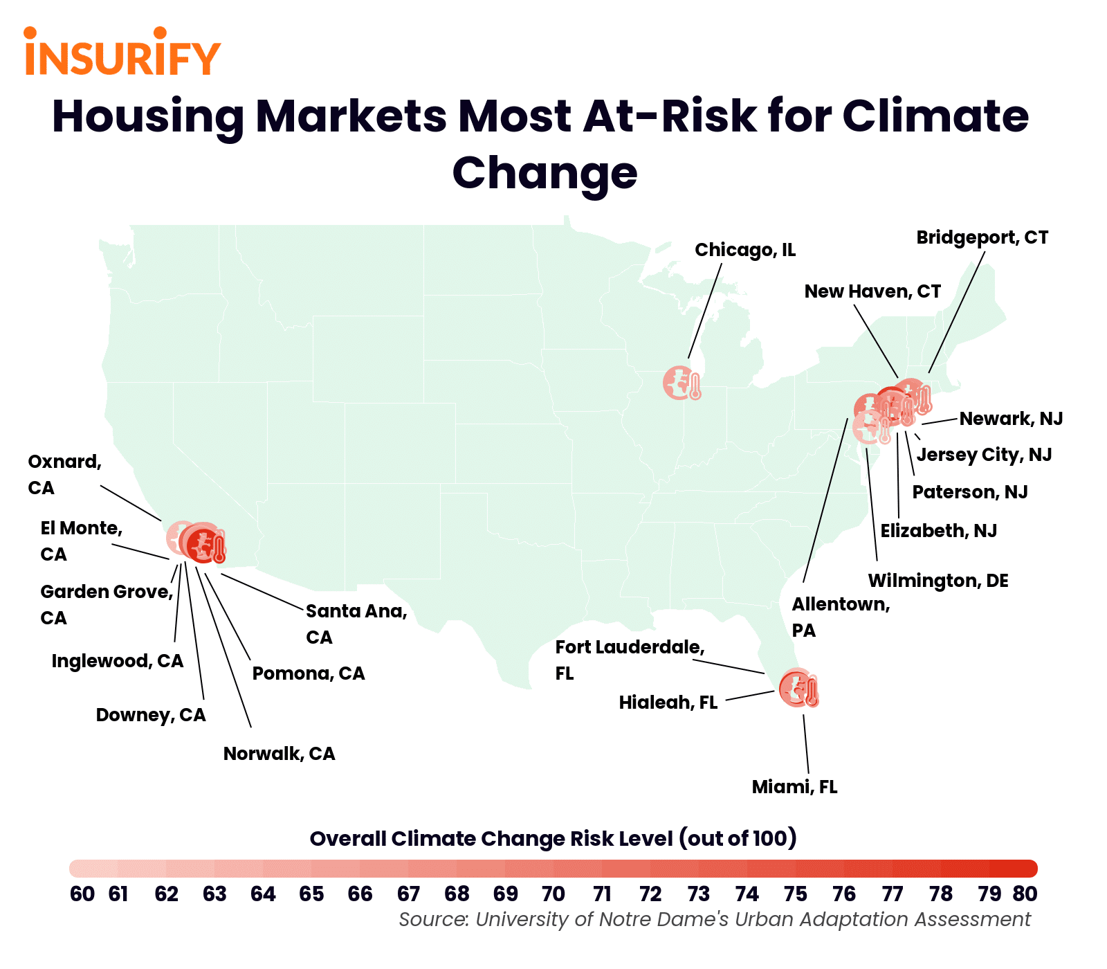 Icon map showing which U.S. cities' housing markets will be most affected by climate change in the 21st century.