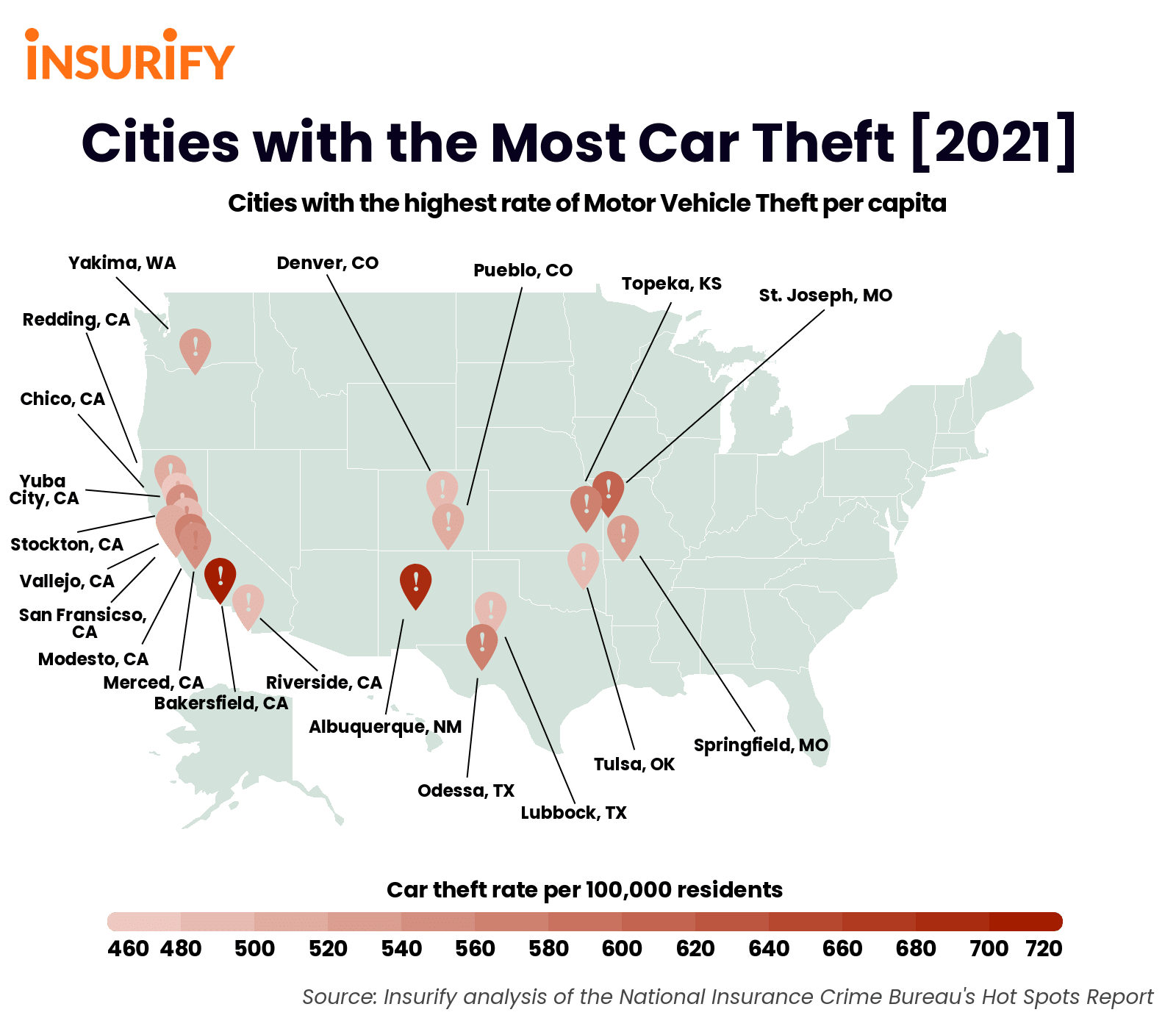Heat map of twenty cities with the highest rates of car theft per capita.