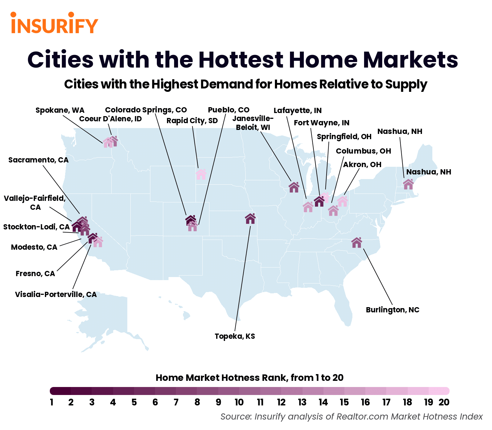 heat map of cities with the hottest real estate markets. The top 20 cities with the highest demand relative to supply were selected.