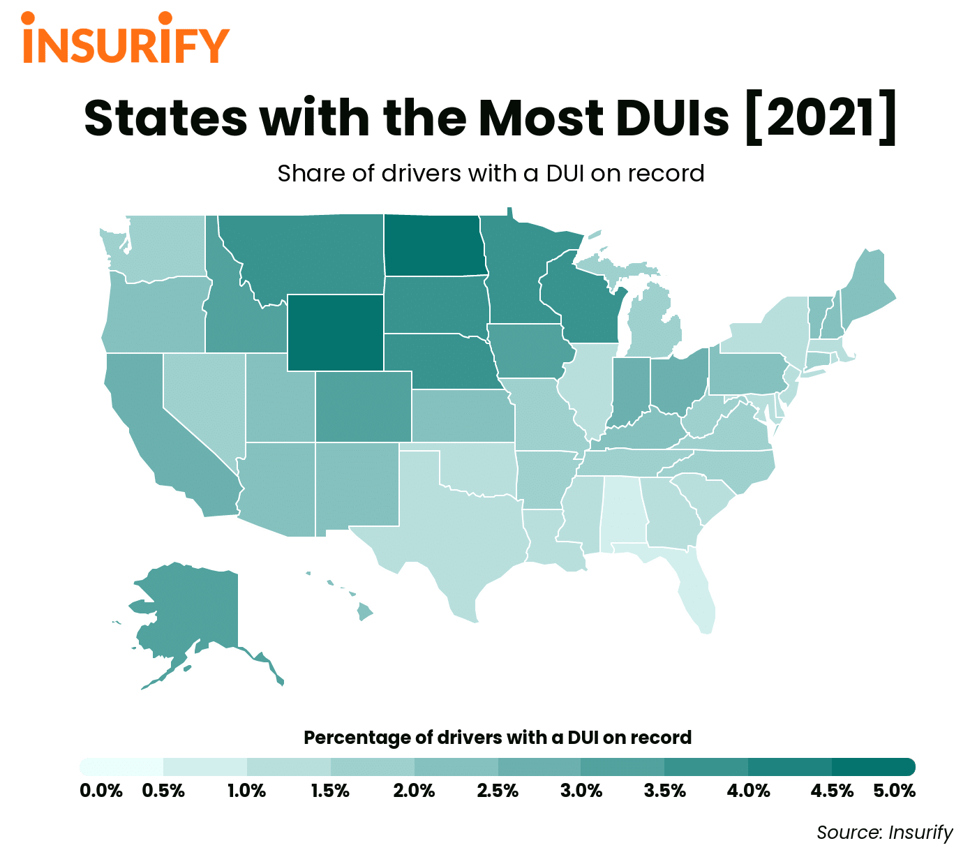 A heat map showing the DUI rate in each state in 2021 across the United States.