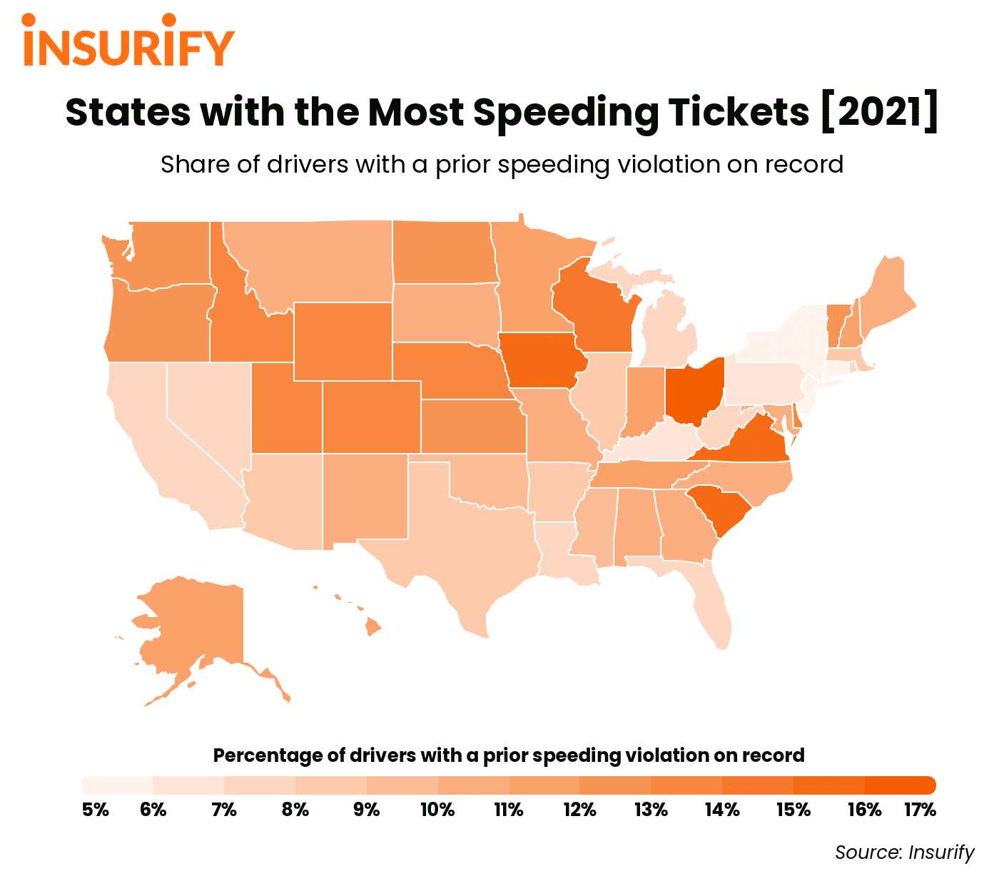 A heat map showing speeding violation rates by state in 2021.