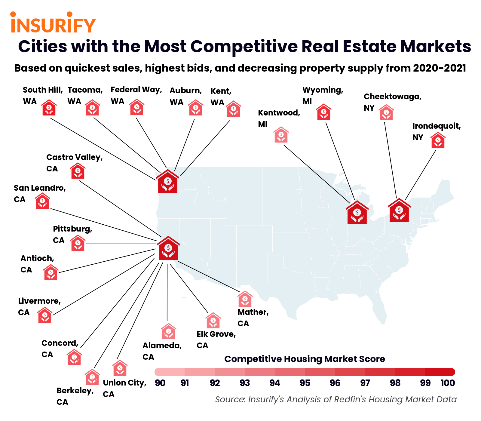 Icon map showing the 20 cities with the most competitive real estate markets in 2021.