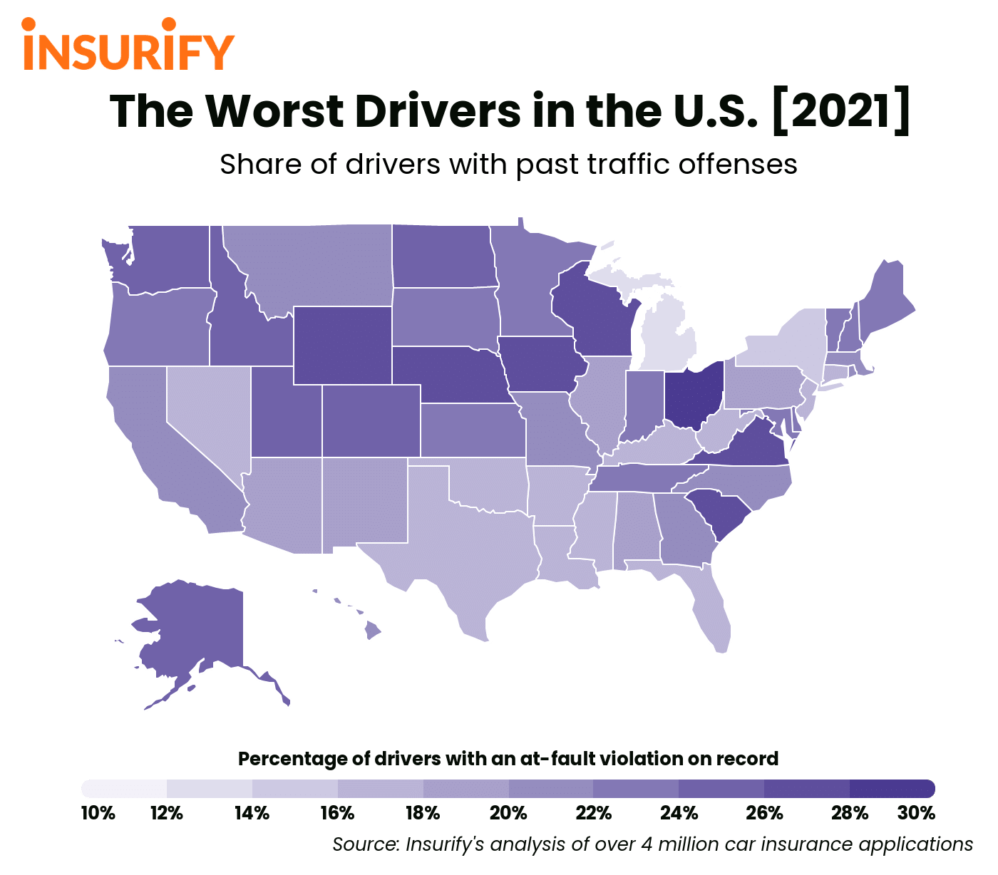 Heat map of the United States showing the traffic violation rates by state.