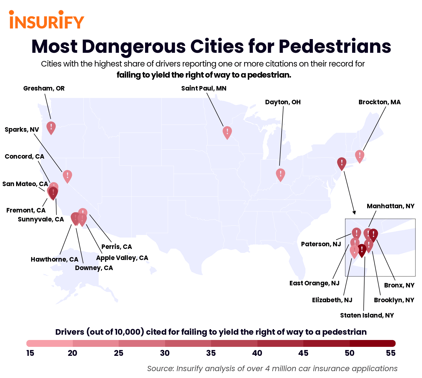 Heat map of the United States illustrating the 20 most dangerous cities for pedestrians, 2021