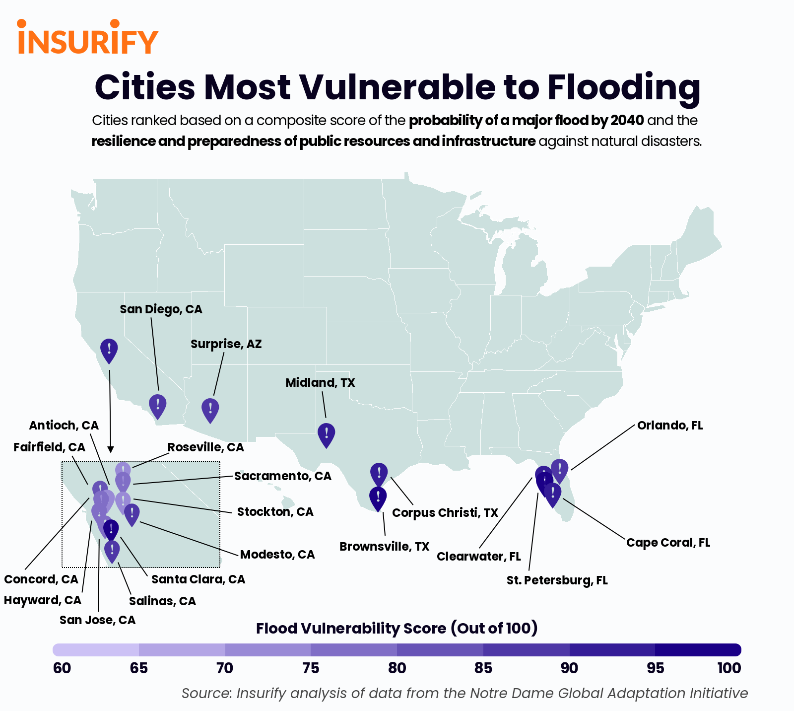 Heat Map of the Cities with the Highest Flooding Risk