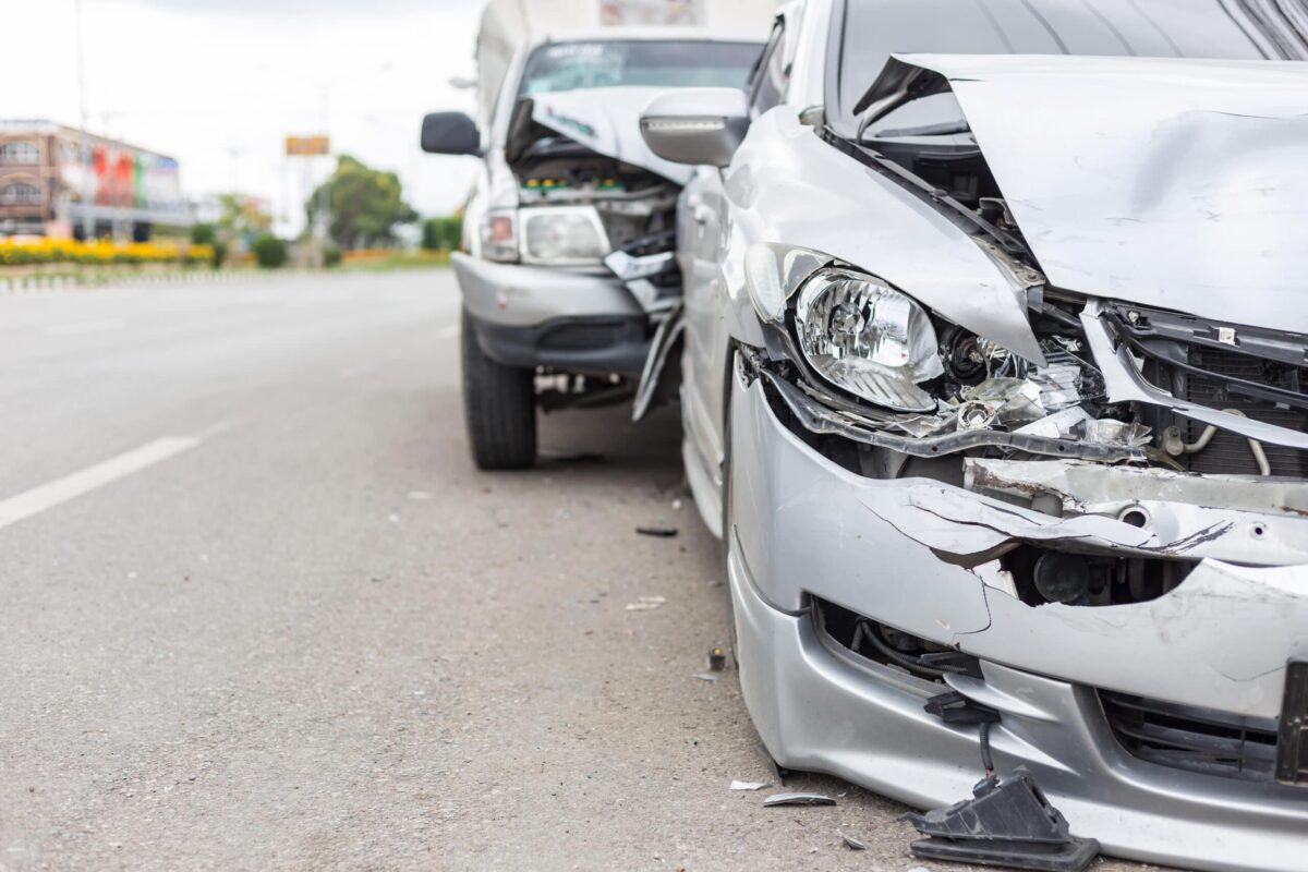 A car accident involving two vehicles.