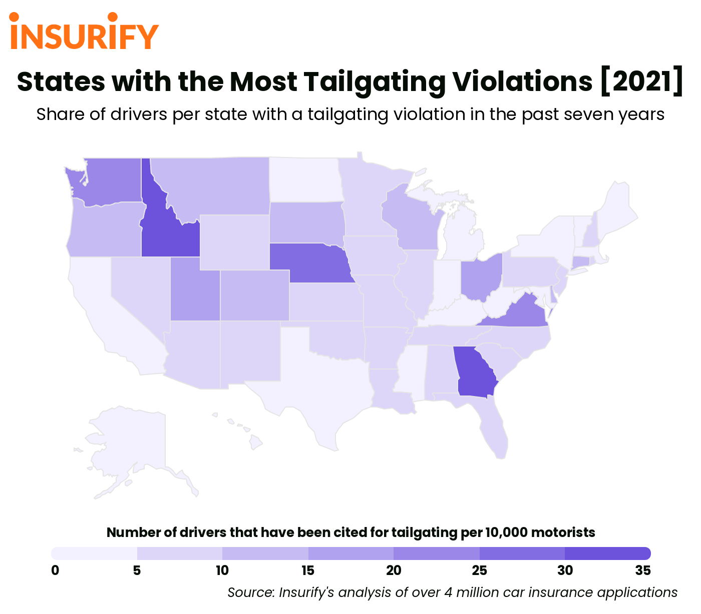 Heat map of the United States showing the states with the highest rates of tailgating in 2021.