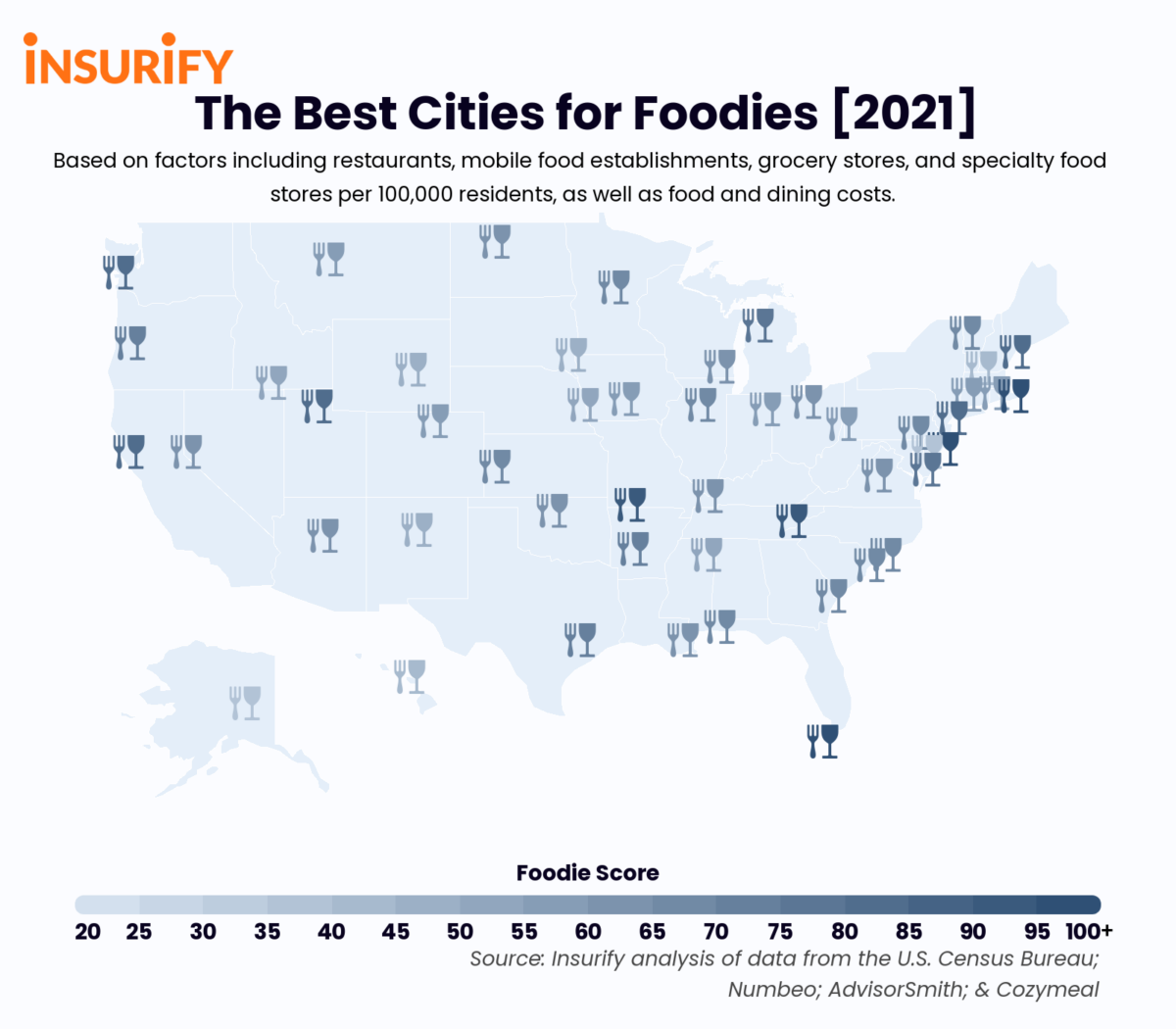 Icon map showing the city in each state with the most appeal to foodies.