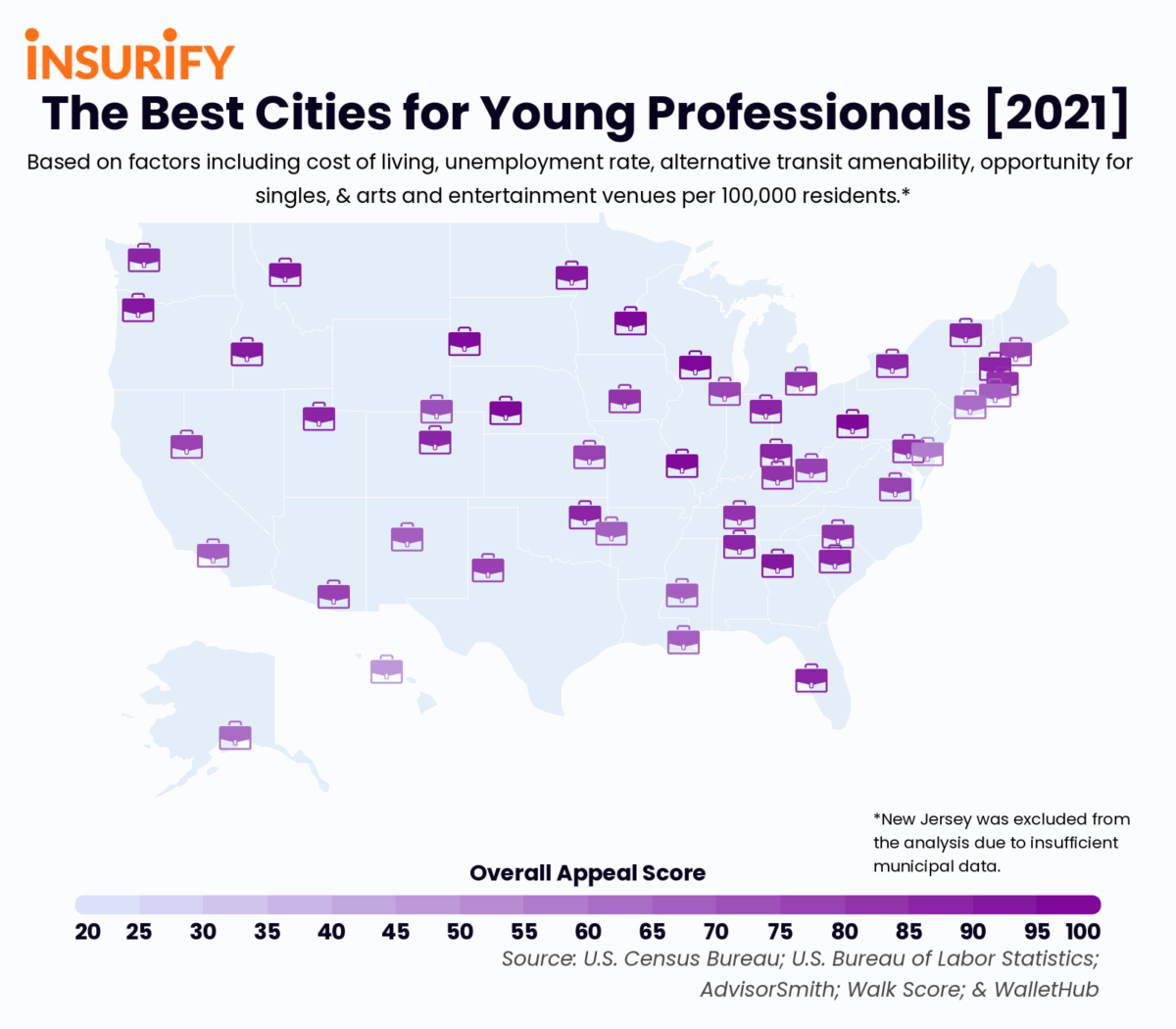 Icon map showing the best city for young professionals in each state