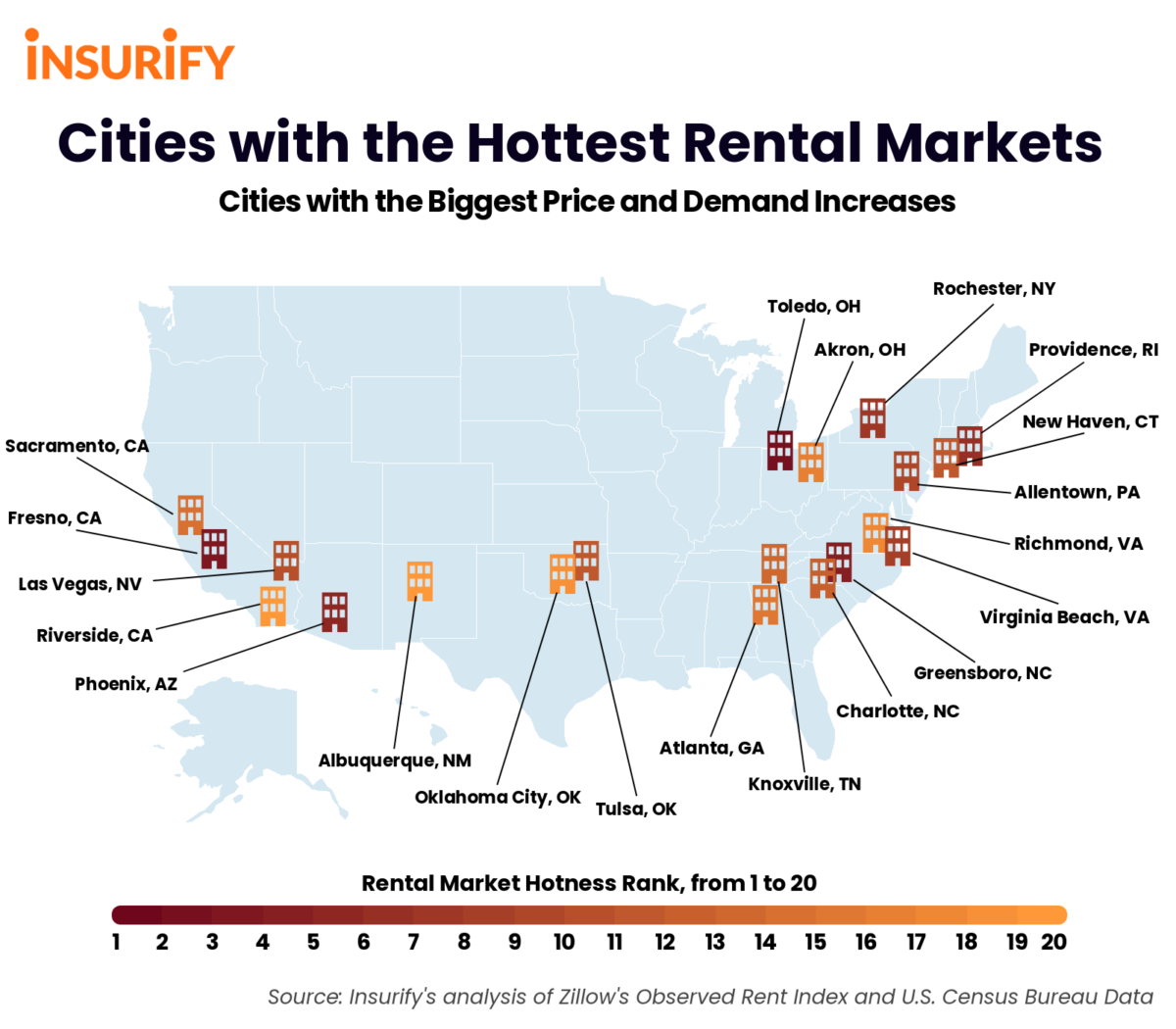 Map illustrating the 20 hottest rental markets in the United States in 2021