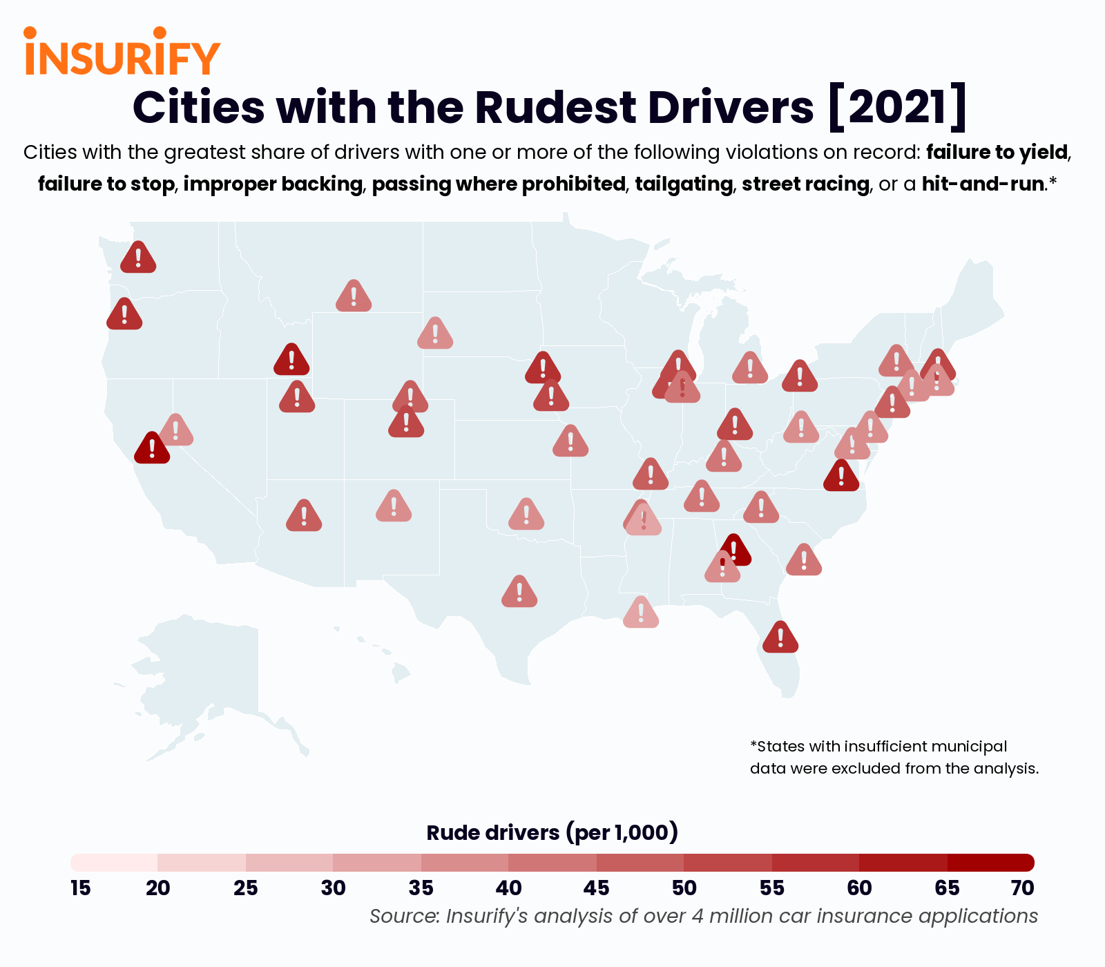 Icon map showing the city in each state with the rudest drivers in 2021.