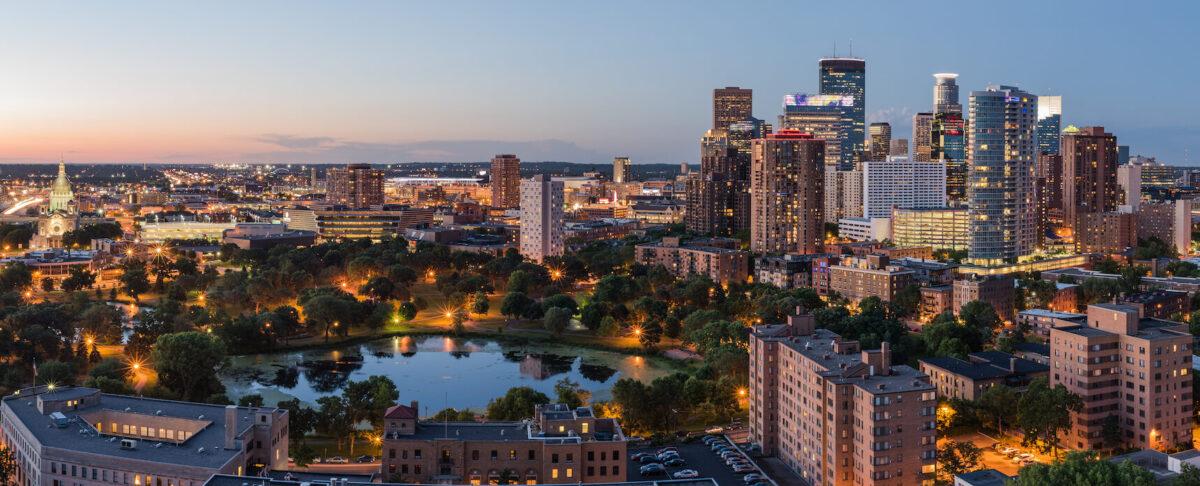 Downtown Minneapolis, Minnesota at sunset.