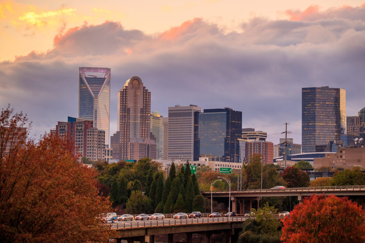 Downtown Charlotte, NC, a hot rental market, at sunset.