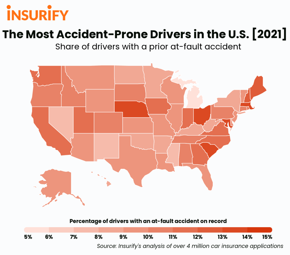 A heat map of the United States showing the at-fault accident in every state in 2021.