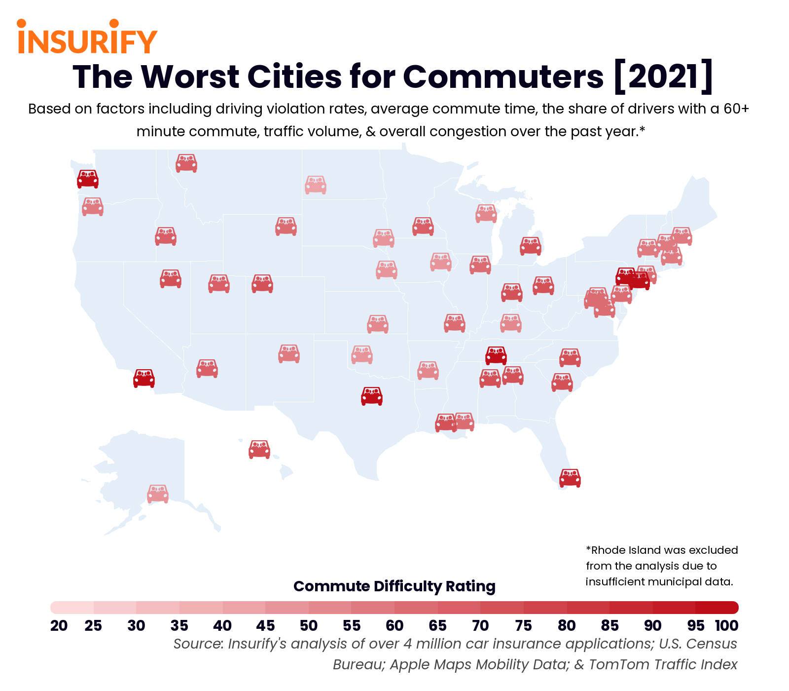 Icon map showing the city in each state with the worst commutes.