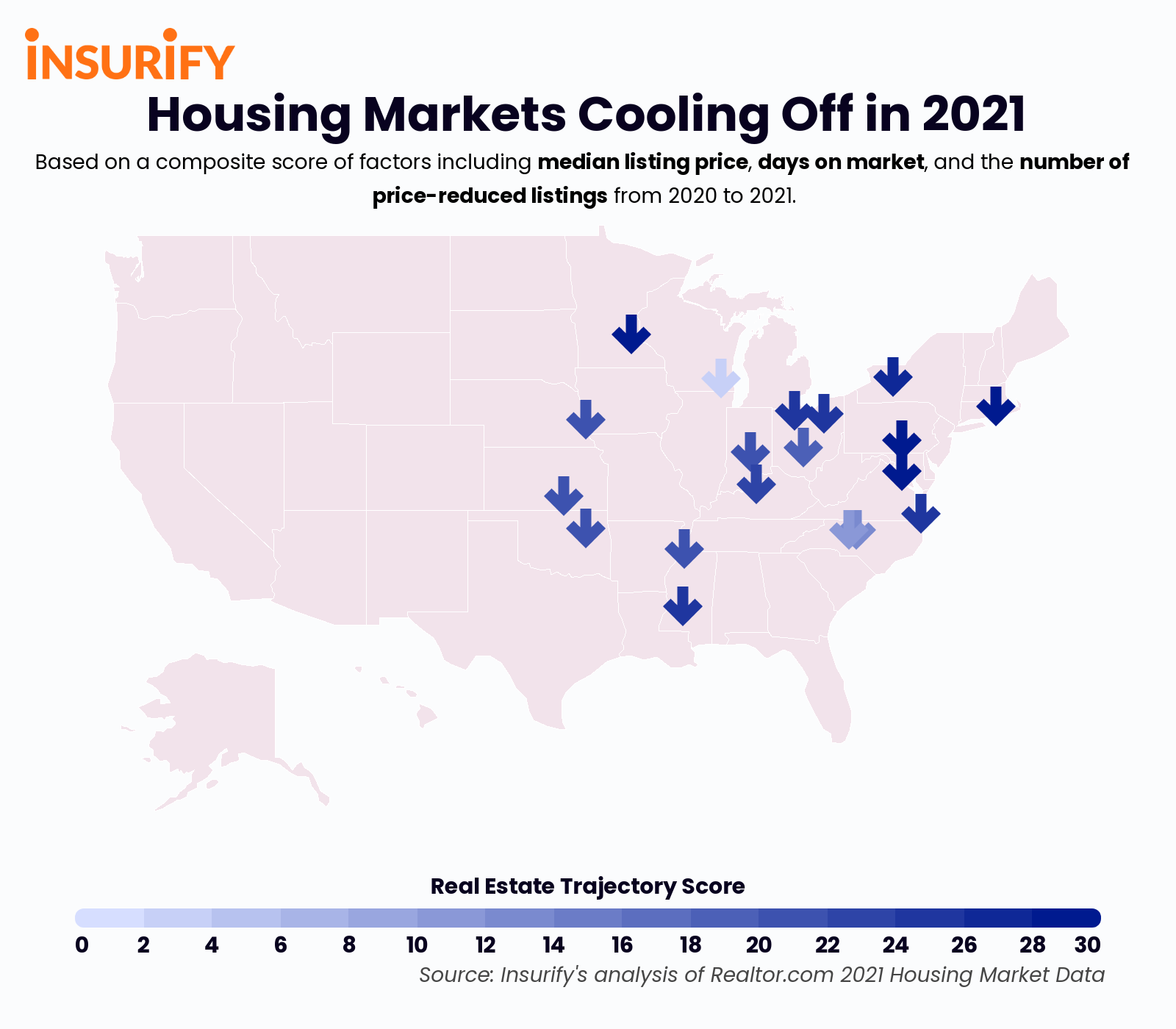 An icon map showing 20 cities where the real estate market is returning to pre-pandemic levels in 2021.