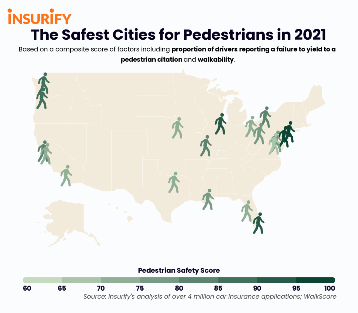 Icon map showing the 20 safest cities for pedestrians in America.