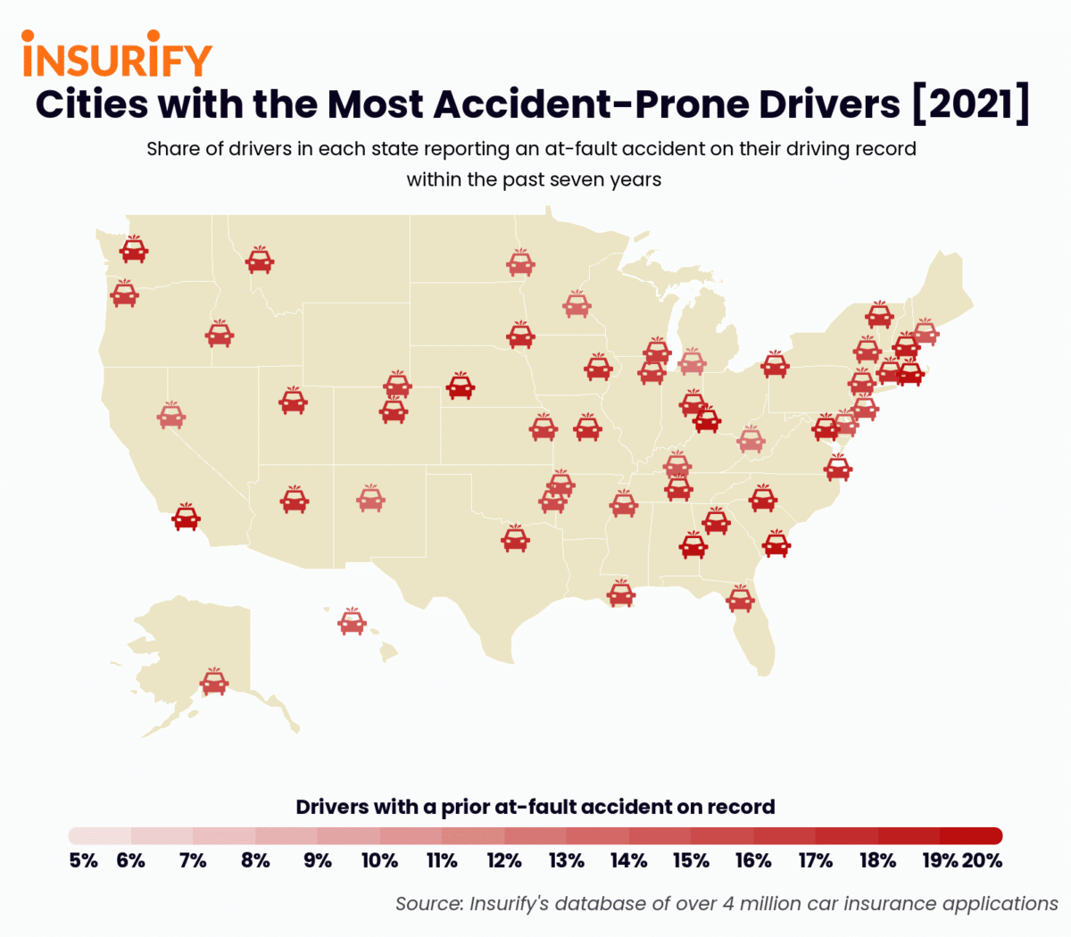 Icon map showing the city in each state with the most accident-prone drivers in 2021.